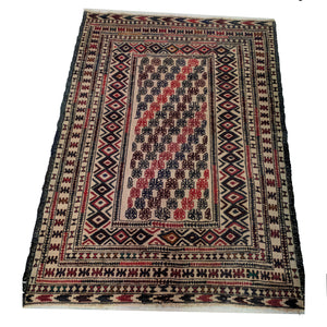 Vintage Hand Knotted Cotton Kilim with Woollen Embroidery The Design Ark Antiques Kingsford Sydney