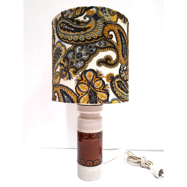 West German Lamp Base with Paisley Shade