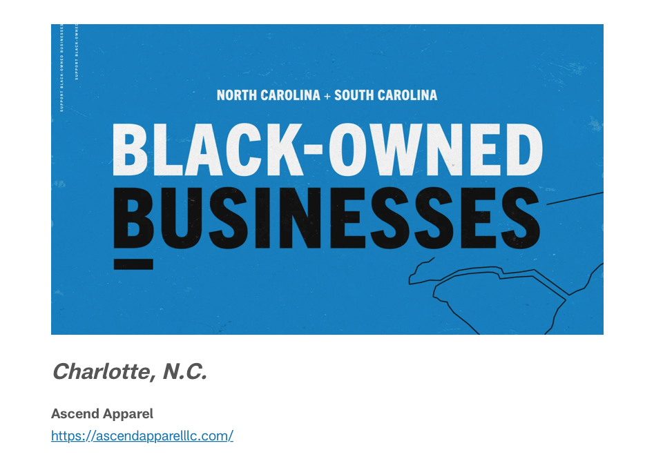 Carolina Panthers Support Black-owned businesses in the Carolinas