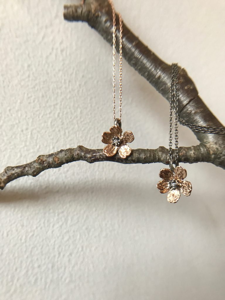 sakura necklaces on oxidized silver chain and gold chain