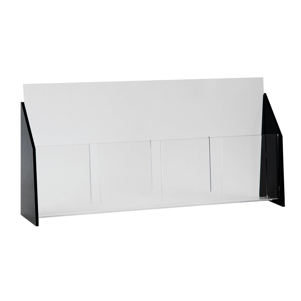 Black Acrylic Trifold Brochure Holder for Countertop, Holds 4 x 9 Brochures