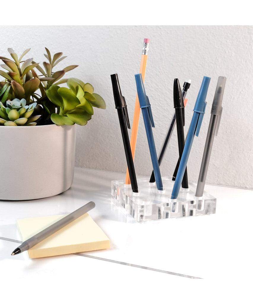 Premium Modern Clear Acrylic Pen Holder
