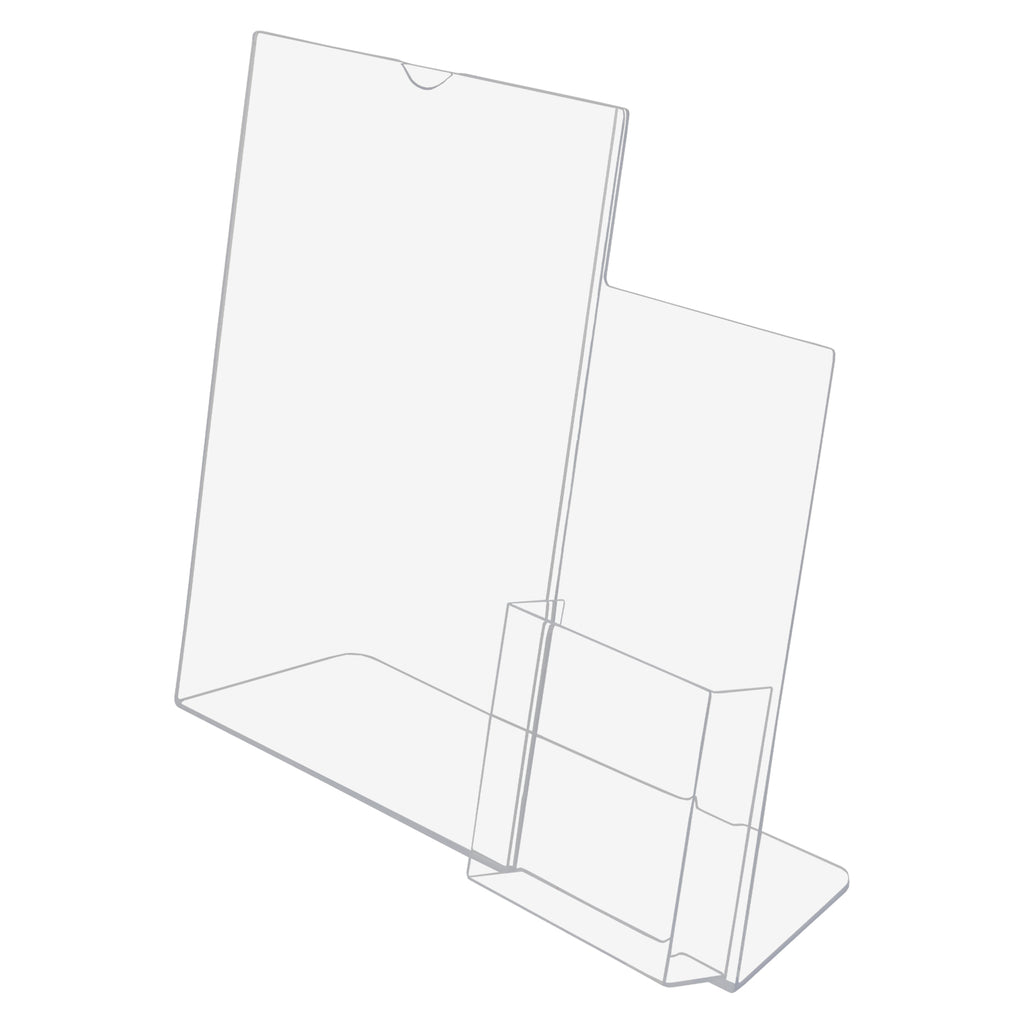 "8.5"" x 11"" Slant Back Sign Holder with 4"" Trifold Brochure Holder"