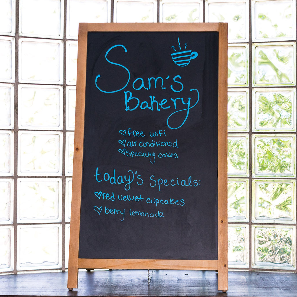 Wooden Magnetic A-Frame Chalkboard Sign for Restaurant and Cafe