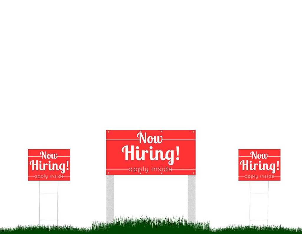 Now Hiring Sign Package - 3 Banner Sign Set