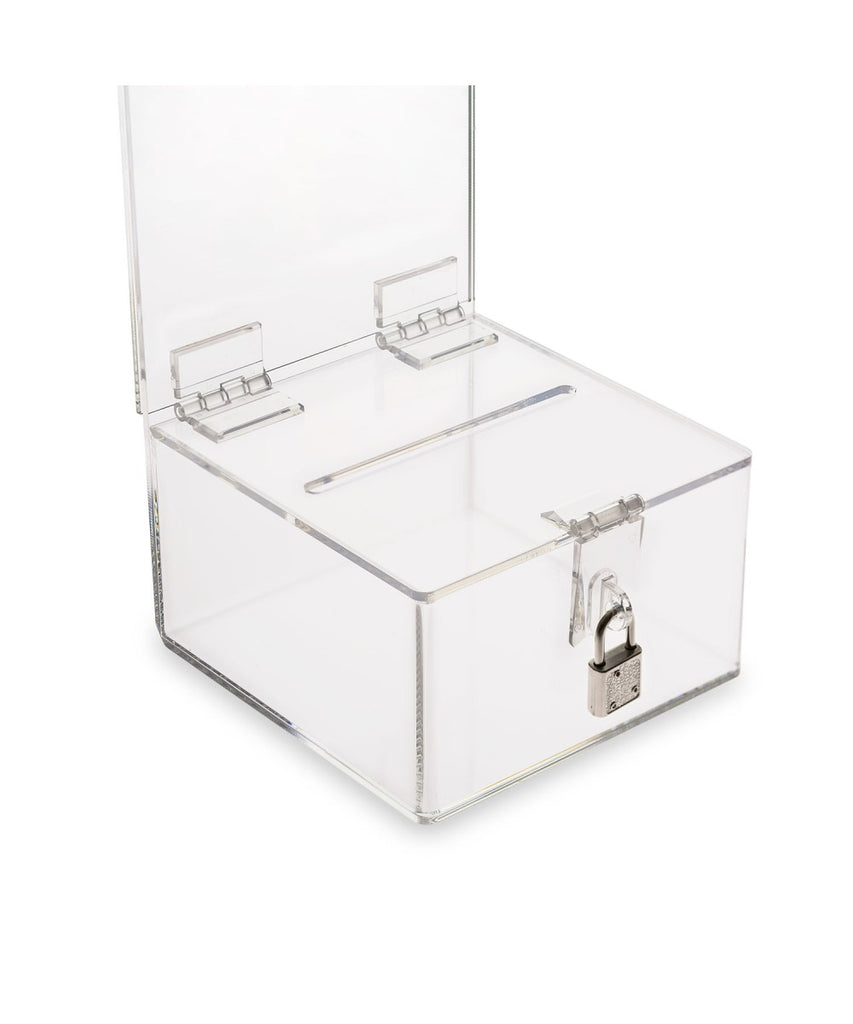 Charity Box with Hasp Lock, 5″x 7″ Sign Holder