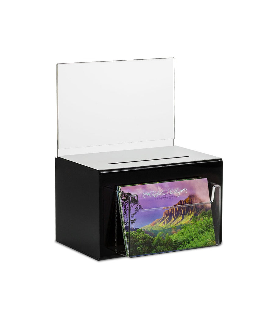 Oblong Donation Box with Pocket for Comment, Suggestion, Ballot Cards