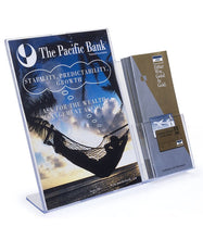 "Load image into Gallery viewer, 8.5"" x 11"" Slant Back Sign Holder with 4"" Trifold Brochure Holder"