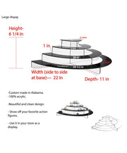 Load image into Gallery viewer, Acrylic Half Circle Risers, 4 Tier, Available in Multiple Sizes & Clear & Black