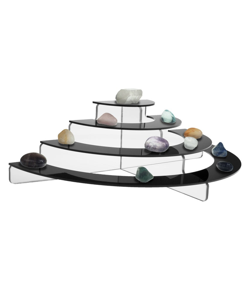 Acrylic Half Circle Risers, 4 Tier, Available in Multiple Sizes & Clear & Black