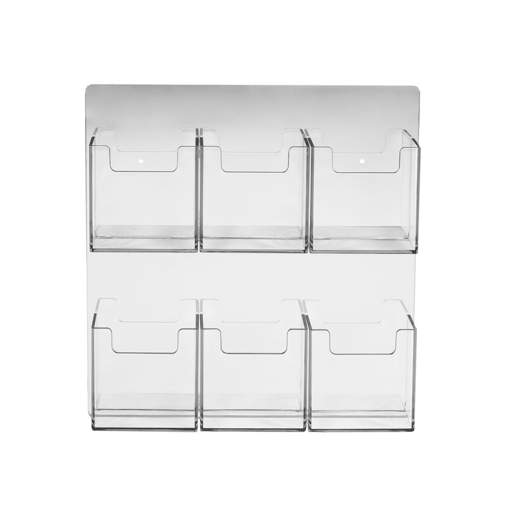 6 Pocket Wall Mount Vertical Business Card Holder, Clear Acrylic