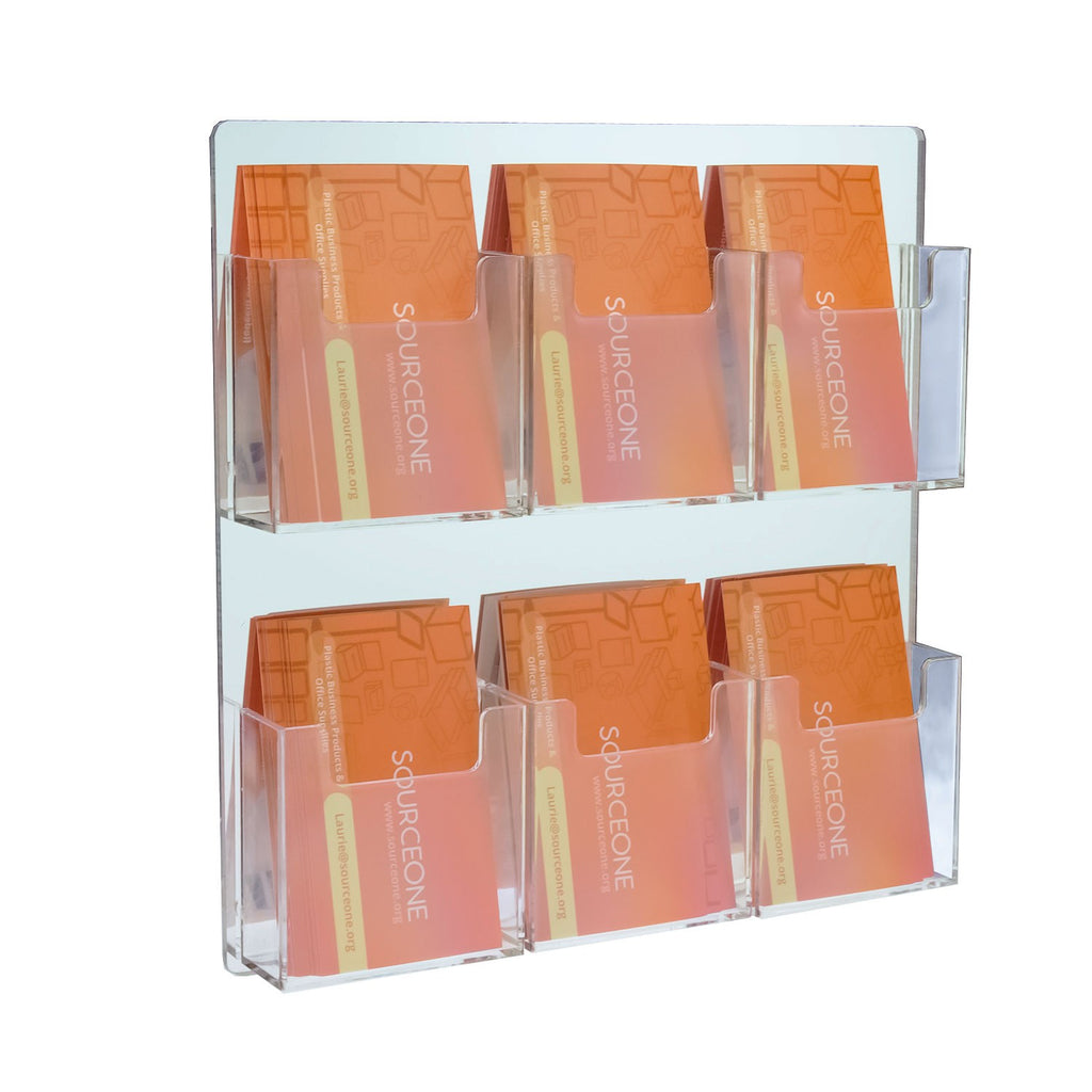 6 Pocket Wall Mount Vertical Business Card Holder, Mirror