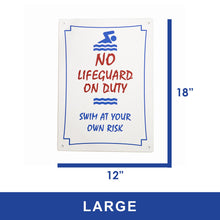 Load image into Gallery viewer, No Lifeguard On Duty Sign
