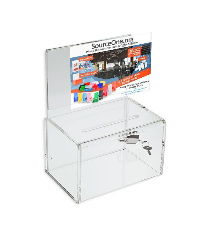 "4"" Clear Small Donation Box"