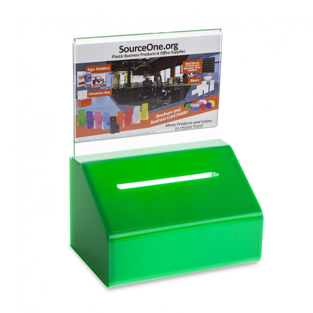 Slopie Donation Box with Sign Holder & Lock