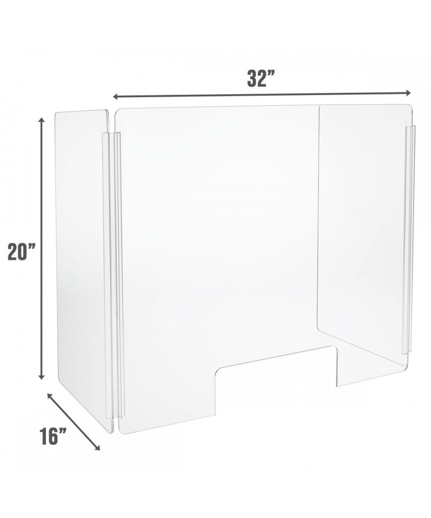 Portable Sneeze Guard, Fold-able Clear Acrylic Plexiglass Shield