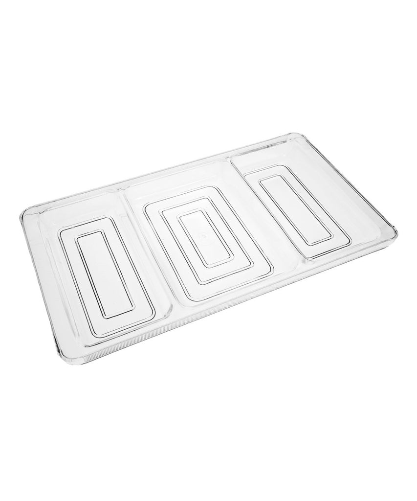 Clear Acrylic 3 Compartment Tray Organizer for Candy, Makeup and Snacks