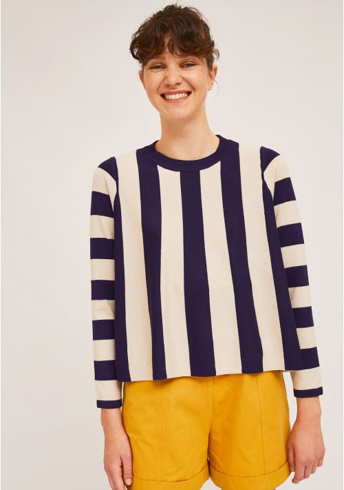 A-Line Jumper With Two-Tone Vertical Stripes