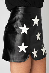 Ali Star Faux Leather Mini Skirt