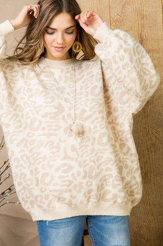Anna Taupe Leopard Sweater