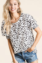 Dalmatian Print Puff Sleeve Top