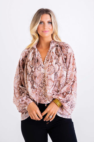 Snake Lurex Chiffon Long Sleeve Top