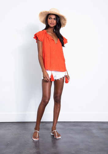 Daisy Metallic Top - Tangerine