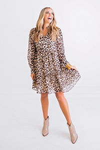 Leopard Vneck Tier Ruffle Dress