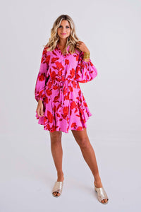 Floral Button Tie Puff Sleeve Dress