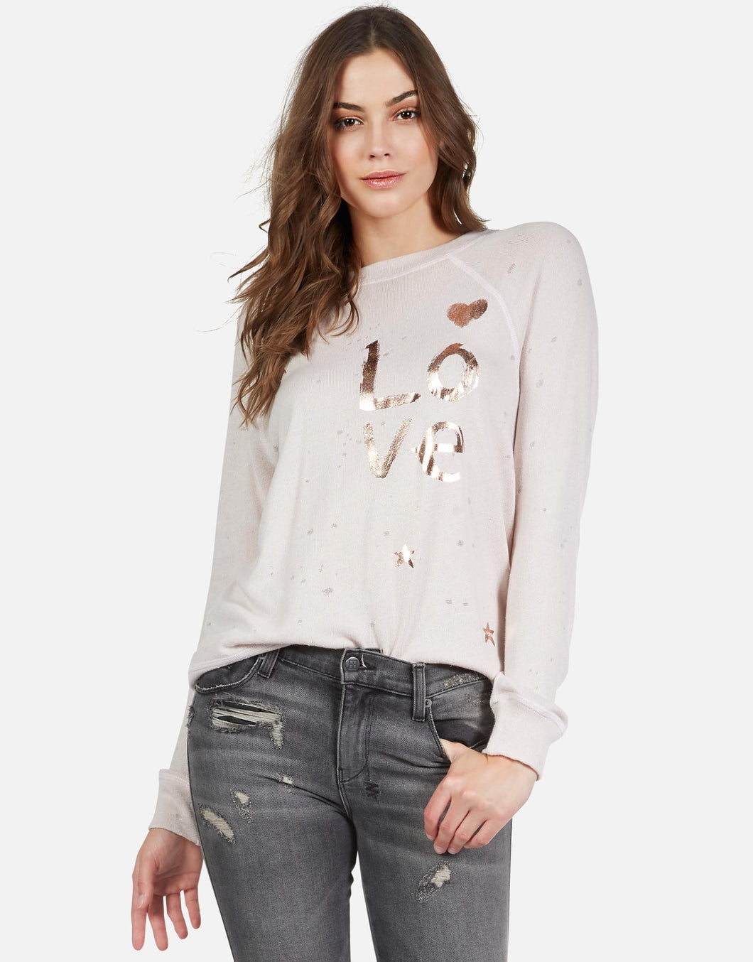 Bardot Rose Gold Foil Brushed Love Pullover