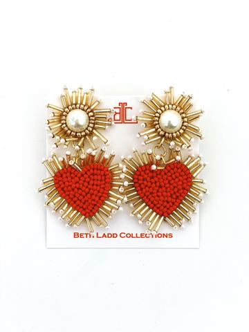 Red/Pearl Heart Earrings