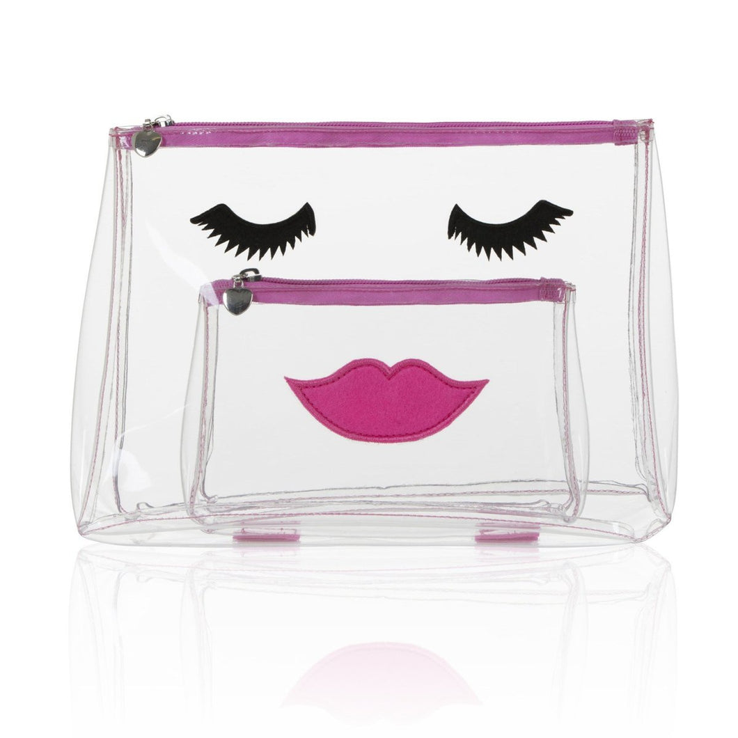 Pink Emoji Face Makeup Bag Set