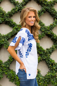 Leah  Embroidered Top