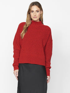 Fuzzy Mock Sweater - Punk Red