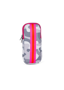 Glasses Case-White Camo Pink/Orange Stripe