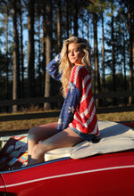 Red, White & Blue Flag Open Knit Sweater