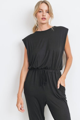 Sleeveless Shoulder Pad Jumpsuit