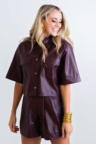 Solid Pleather Pocket Camp Shirt - Burgundy