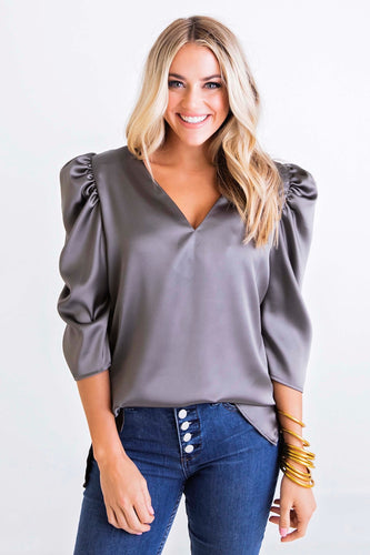 Olive Puff Sleeve Signature Top