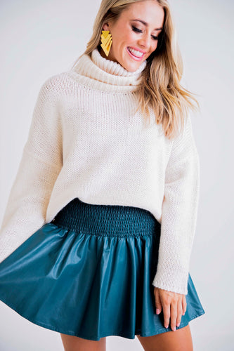 Teal Pleather Smocked Skirt
