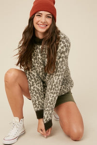 Chloe Furry Leopard Pullover