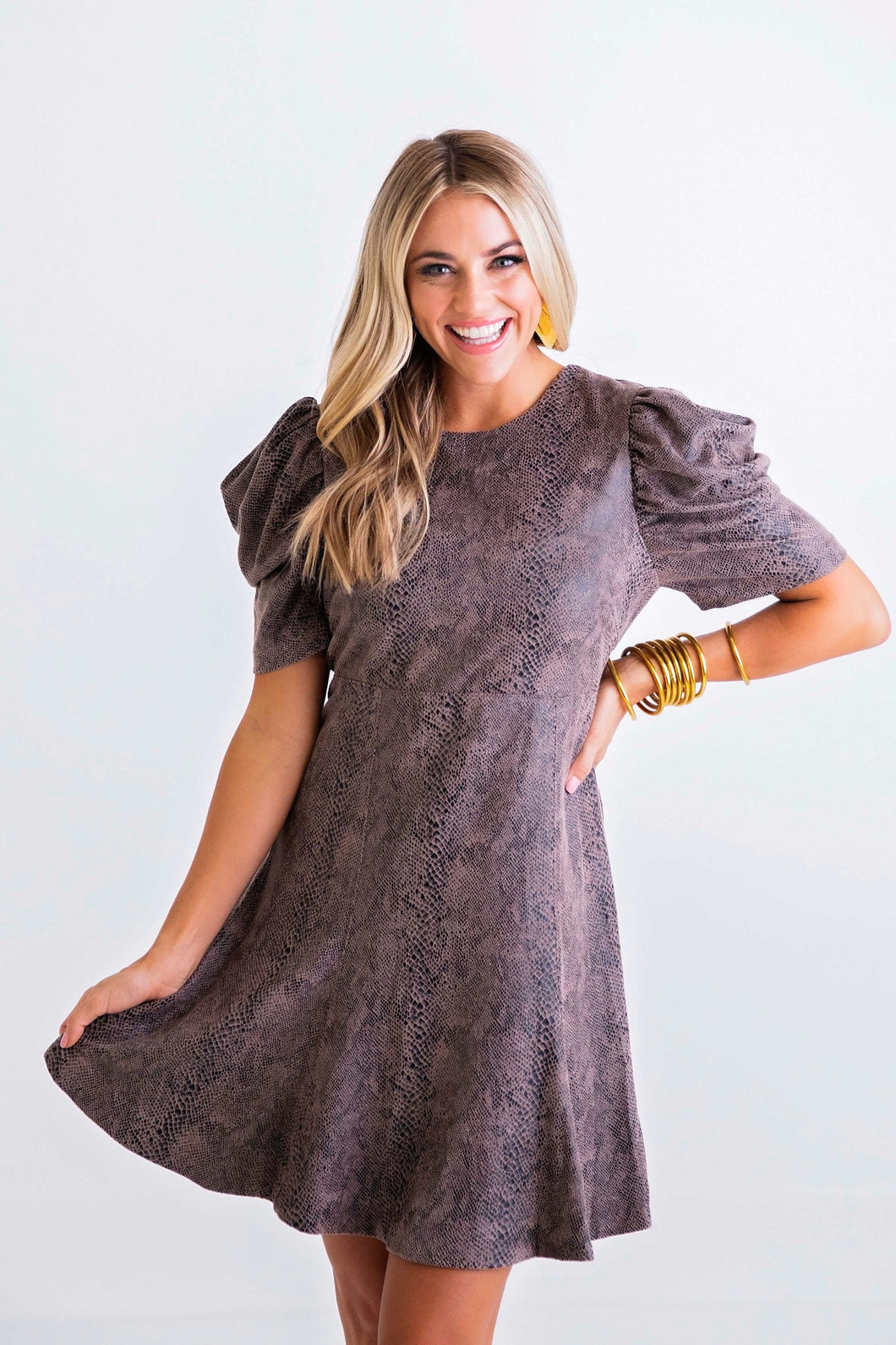 Snake Puff Sleeve Dress