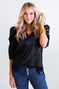 Black Puff Sleeve Signature Top