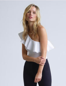 Bonded One-Shoulder Ruffle Bodysuit