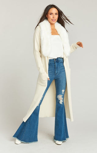 Lombardi Long Cardi ~ Snowy White Knit