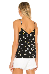 Essential Button Front Tank- Black Daisy Chain
