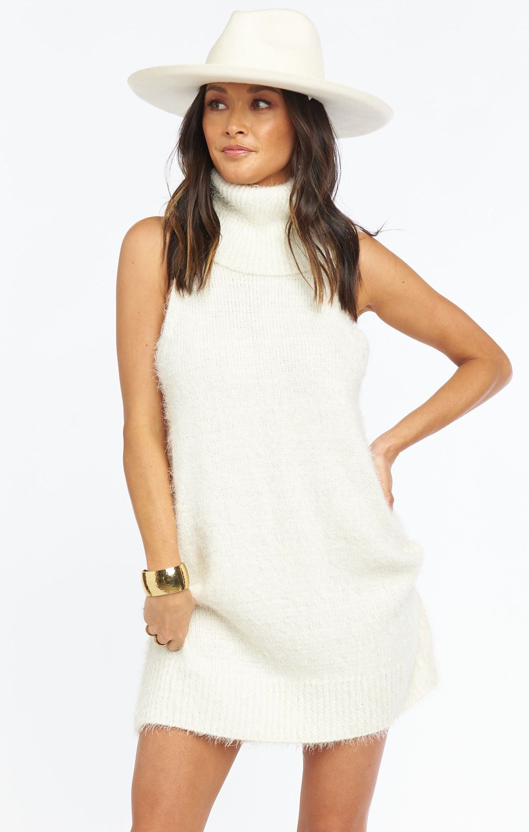 Fauna Dress - Fuzzy Cream Knit