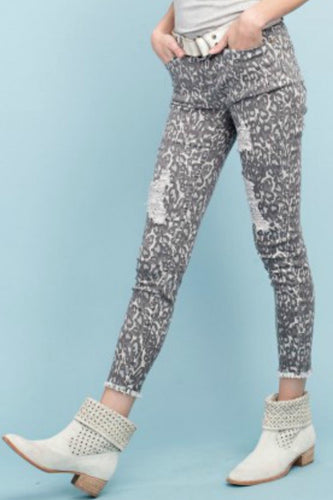 Ari Leopard Distressed Jeans
