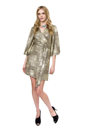 Apple Shimmer Wrap Dress