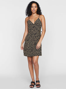 Wrap It Up Tank Dress - Black Modern Spots